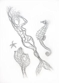 Wire Wall Art: 42in Mermaid Wire Sculpture by Elizabeth Berrien