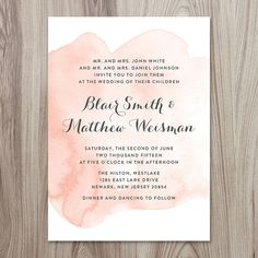 Peach Watercolor Wedding Invitation 5x7 Printable by SonoraLeigh