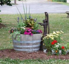 Country garden decor - MGP Half 27 in W and 16 in H Oak Wine Barrel Planter, Natural Garden Yard Ideas, Lawn And Garden, Garden Projects, Garden Art, Country Garden Ideas, Spring Garden, Garden Ideas For Front Of House, Barrel Garden Ideas, Wood Barrel Ideas