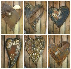 Oregon based recycled metal artist and art quilter Kathi from the blog Kathi's Garden Art Rust-n-Stuff has made these wonderful hearts from recycled metal by using collage technique. Love the old, rustic and rusty look & feel of those hearts!…