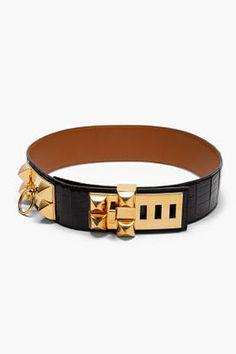 c5124476948 ShopStyle  HERMES VINTAGE Black Patent Porosus Croc Skin Collier de Chien  Belt Cinturones