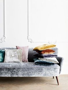 Grey Velvet Couch Colorful Throw Pillows