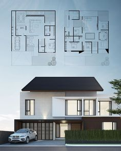 Gambar mungkin berisi: luar ruangan Zen House Design, Modern Small House Design, Modern Minimalist House, Duplex House Design, Modern House Plans, Facade Design, Exterior Design, House Blueprints, Home Design Plans