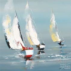 Effet de voiles Art on Acrylic Art on Acrylic - 30 x 30 cm Sailboat Art, Sailboat Painting, Nautical Art, Sailboats, Watercolor Sea, Watercolor Paintings, Frida Art, Sea Art, Paintings I Love