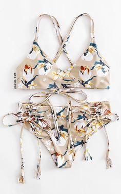 Flower Print Lace Up Bikini Set