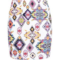 Boohoo Amarie Aztec Geo Print Bodycon Mini Skirt ($8) ❤ liked on Polyvore