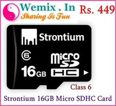 et OFF ON Strontium Micro SDHC Card. If you need a thunder-speed data transfer, the more you should try out Strontium MicroSD card Class 6 that would show you the real power of speed. Mobiles, Mobile Offers, Memory Storage, Buy Mobile, Online Shopping Deals, Online Deals, Online Price, Mobile Accessories, Electronics Accessories