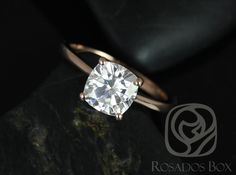 Skinny Florence 7.5mm 14kt Rose Gold Cushion FB Moissanite Tulip Cathedral Solitaire Engagement Ring (Other options available)