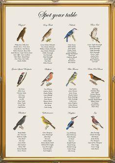 Vintage Bird Spotting Table Plan for nature by inkloveweddings, £40.00