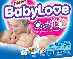 BabyLove Newborn Nappies 0-5kg, 54pk