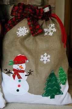 Natural Hessian Burlap FROSTY SNOWMAN Christmas Sack. $61.00, via Etsy.