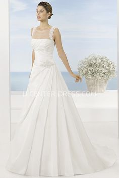 $145.29-Unique A-Line Sleeveless Long Scoop Draped Satin Wedding Dress With Beading. http://www.ucenterdress.com/a-line-sleeveless-floor-length-scoop-draped-satin-wedding-dress-with-beading-and-waist-jewellery-pMK_700745.html.  Shop for Best wedding dresses, Lace wedding dress, modest wedding dress, strapless wedding dress, backless wedding dress, wedding dress with sleeves, mermaid wedding dress, plus size wedding dress, We have great 2016 fall Wedding Dresses on sale. Buy Wedding Dresses…