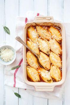 Pumpkin & Ricotta Stuffed Shells with Marinara Sauce