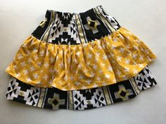 This is a sweet double ruffle skirt. The Penelope Skirt is a Violette Field Threads pattern. This skirt is a size Black and white and yellow with Double Ruffle, Skirts For Sale, Ruffle Skirt, Boho Shorts, Fields, Black And White, Yellow, Sweet, Fabric