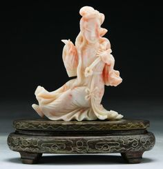 """Chinese Antique QING DYNASTY Pink Coral Beauty: the coral branch of bright blush-pink tone, carved as a beauty in long robes and high chignon in seated position, 19th Century  Dimensions: H: 4-1/2"""""""