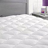 #2: Bamboo Mattress Pad with Fitted Skirt  Extra Plush Cooling Topper  Made in the USA Queen