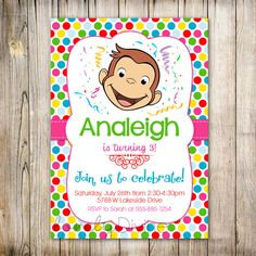 Curious George Birthday Invitation, Curious George Invite, 1st Birthday, 2nd Birthday, 3rd Birthday, Birthday Invitation,  PRINTABLE by LovelyDivine9 on Etsy https://www.etsy.com/listing/171302104/curious-george-birthday-invitation