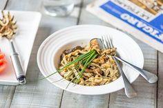 Gluteeniton pekoni-siitakesienipasta Pasta, Ethnic Recipes, Food, Essen, Meals, Yemek, Eten, Pasta Recipes, Pasta Dishes