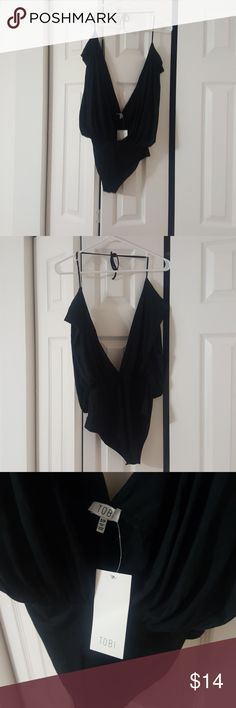 NWT Tobi bodysuit sz small Black cotton halter bodysuit. Ties at neck.  V neck cut in front. Dips down into a low v in back as well. 2 snaps in crotch area. Brand new never worn still has tags. Tobi Other