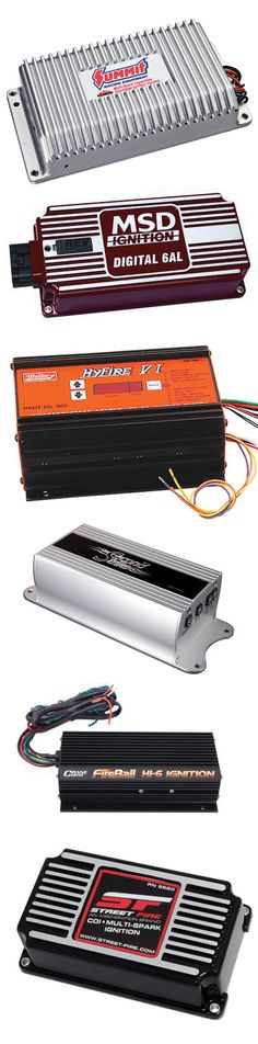 Summit Racing carries ignition boxes from Mallory Ignition, MSD ignition, ACCEL, and more.  They have electronic ignition boxes with rev limiters and both digital and analog circuitry.