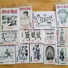 LOT! 13 DEEP RED CLING Rubber Stamps >$100 Value+FREE SHIPPING French Victorian #DeepRedStamps #Background