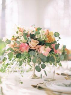 blush roses & eucalyptus centerpieces