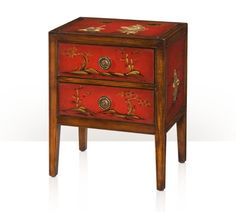 An acacia and hand painted red lacquer bedside chest / or lamp table, with two drawers, on square moulded legs. The original 19th century Chinese.