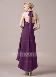 A-Line/Princess Halter Asymmetrical Ruffle Bow(s) Zipper Up Regular Straps Sleeveless No Grape Spring Summer Fall General Plus Chiffon Bridesmaid Dress
