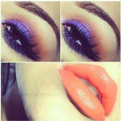 Purple and orange make up!!