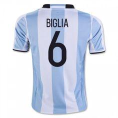 Argentina 2016 Biglia 6 Hjemmebanetrøje Kort ærmer