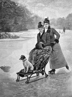 Provenance: Antique wood engraved print taken from the Illustrated London News. With its debut in The Illustrated London News became the world's first fully illustrated weekly newspaper, marking a revolution in journalism and news reporting. Victorian Illustration, Dog Illustration, Engraving Printing, Pet Dogs, Pets, Ice Skating, Figure Skating, Winter Fun, How To Antique Wood