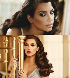 Kim Kardashian - Old Hollywood Glamour - Wedding Makeup Videos Hollywood Glamour Makeup, Glamour Hollywoodien, Hollywood Glamour Wedding, Kim Kardashian Kanye West, Vintage Makeup, Beauty Make-up, Hair Beauty, Wedding Hair And Makeup, Hair Makeup