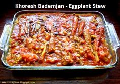 Any dish with the combination of eggplants and tomatoes is just divine. If you happen to love eggplants and tomatoes this stew has them both, in addition to meat, split peas and sour grapes (ghooreh), which can be found in most Iranian grocery stores. خورش بادمجان - khoresh bademjan is a rich and flavorful recipe and one of the favorites among many Iranians.