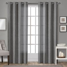 ATI Home Sparkles Shimmer Linen Curtain Panel Pair with Grommet Top