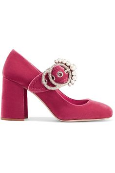 Miu Miu - Embellished Velvet Mary Jane Pumps - Pink