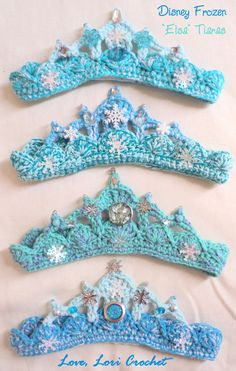 Diy Crafts - This listing is for one hand crocheted, Disney, Frozen, Elsa Tiara, hand beaded in sparkly accents. You choose the size. Every Tiara is Crochet Crown, Hand Crochet, Knit Crochet, Knit Cowl, Crochet Granny, Crochet Amigurumi, Crochet Toys, Crochet Princess, Frozen Crochet Hat