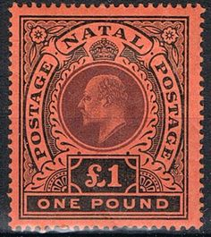 Natal Stamp 1908 1 Pound Purple and Black-Red George Town, Postage Stamp Design, Crown Colony, Colonial, Vintage Stamps, 1 Pound, My Stamp, Stamp Collecting, Purple And Black