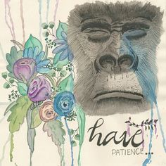 "Have Patience... Animal Instincts Collection Ink+WaterColor (Acuarela+tinta)  Size 8.5"" x 8.5"" inches Medidas 21cm x 21cm"