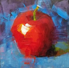 Small Original Acrylic Painting Apple 5 x 5 Unframed