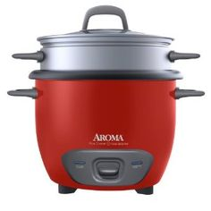 #4: Aroma Arc-743-1Ngr 6-Cup (Cooked) Rice Cooker and Food Steamer, Red.