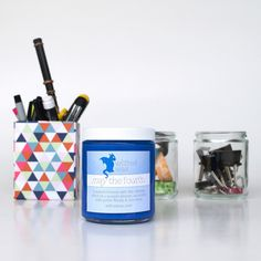 We love reusing our jars for about anything. The jar that houses this May the Fourth force-inspired candle can be used and reused long after its sea-breeze fragranced wax is gone. Empty Candle Jars, Soy Candles, Glass Jars, Fragrance Samples, Fragrance Oil, Remove Labels, Sea Moss, Light Side, The Four