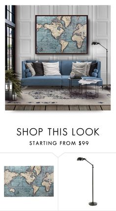 """Map Wall Art"" by debraelizabeth ❤ liked on Polyvore featuring interior, interiors, interior design, home, home decor, interior decorating, Saba, Pier 1 Imports and Ballard Designs"