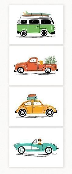 Vintage cars art print set, by Lucy Loves Paper. Set of 4 illustrations. Cute for a modern kids room or for vintage car lovers. #VWbus #VWbeetle #VWvan #vintagecars