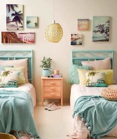 Teen Girl Bedrooms, delighfully dreamy transformation, analyze the info 9503999412 - A big dose of teen room decor ideas. Surfer Bedroom, Tropical Bedrooms, Tropical Bedroom Decor, Tropical Decor, Beachy Room Decor, Baby Girl Room Decor, Tropical Interior, Coastal Bedrooms, Teen Girl Bedrooms