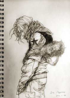 Wooowwww ... nice. | Bucky is surrounded by people who try to keep him warm, but he's always a little bit Winter ...