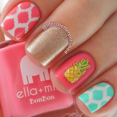 """""""{{ Manicure Monday }} We obviously love anything pineapple related this season, and this gorgeous mani by @lifeisbetterpolished is no exception! Give her a follow to be inspired for your manicures!"""" Photo taken by @pinkslateboutique on Instagram, pinned via the InstaPin iOS App! http://www.instapinapp.com (06/15/2015)"""