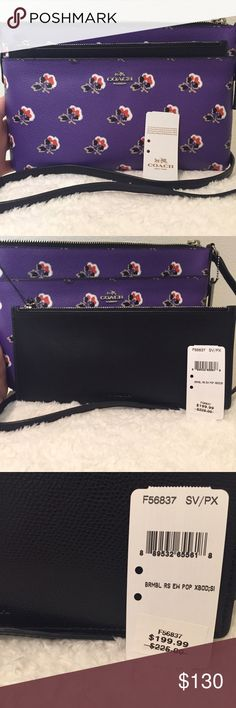 Purple Printed Crossbody bag. New, with tags. Newly marked down Coach file crossbody bag. Vibrant purple with flower print. Comes with an additional slide in Coach pouch, as picture. Ideal for traveling. Brand new with tags. The back has a slide in pocket for an ID. Note: it comes with the price tags but it is not attached. New, never been carried. Coach Bags Crossbody Bags
