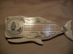 Newport Collection Resin Cribbage Board - Ship / Whale Tail- Carved Sperm Whale / Nautical Cribbage Board, Woodworking Toys, Wood Carving, Whale Tail, Crafty, Woodburning, Newport, Unique Jewelry, Handmade Gifts