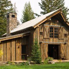 One of my favorite barns!  Ideas: Siding, door, window frame, metal roof..
