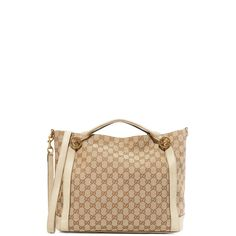 Pre-owned What Goes Around Comes Around Gucci Canvas Miss Tote... (£1,065) ❤ liked on Polyvore featuring bags, handbags, tote bags, cream, monogram tote, canvas totes, handbags totes, canvas tote bags and white handbags